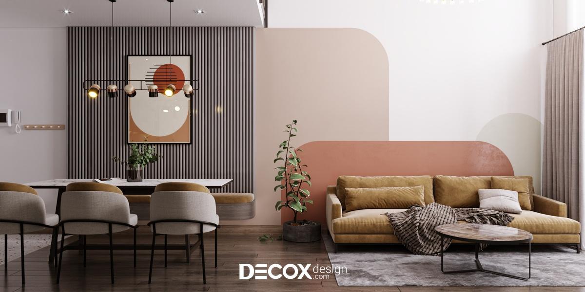 Điểm nhấn màu sắc trên tường giúp phòng khách đẹp thêm phần ấn tượng