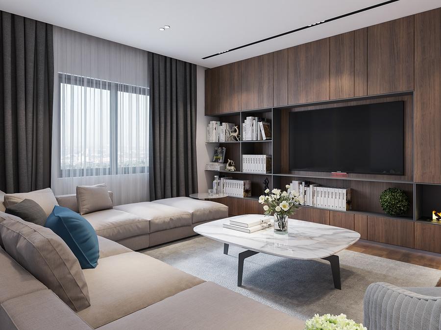 Hệ tủ kệ tivi đa năng giúp phòng khách luôn gọn gàng