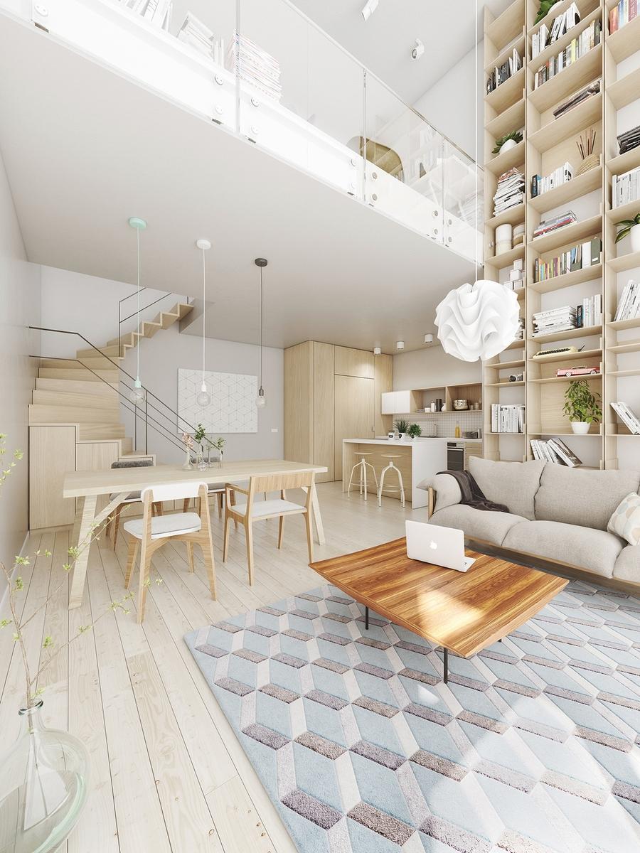 Phòng khách với tone trắng - gỗ tinh tế