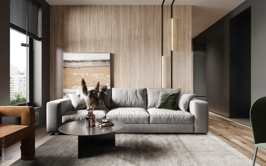 Mẫu phòng khách đẹp sử dụng chất liệu gỗ chủ đạo