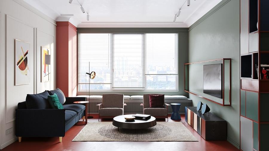 Mẫu phòng khách ấn tượng với sự kết hợp của nhiều sắc thái màu sắc