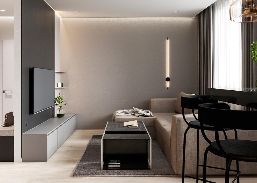 Phòng khách chung cư thẩm mỹ, riêng tư cao cùng vách ngăn