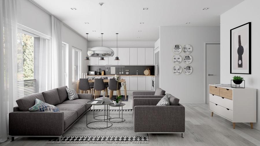 Bộ sofa tone trung tính nổi bật trên nền trắng trang nhã