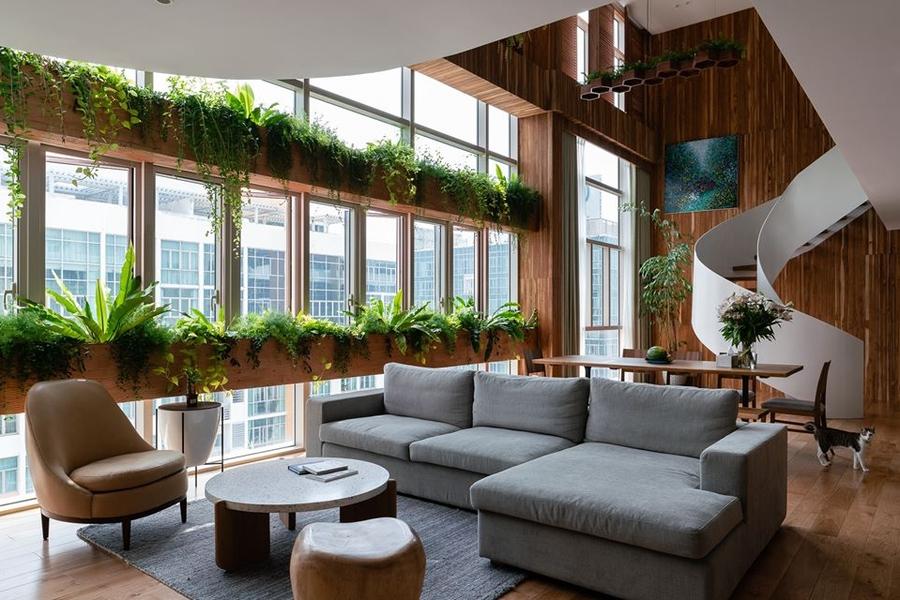 Ánh sáng và cây xanh giúp phòng khách đẹp luôn tràn đầy năng lượng