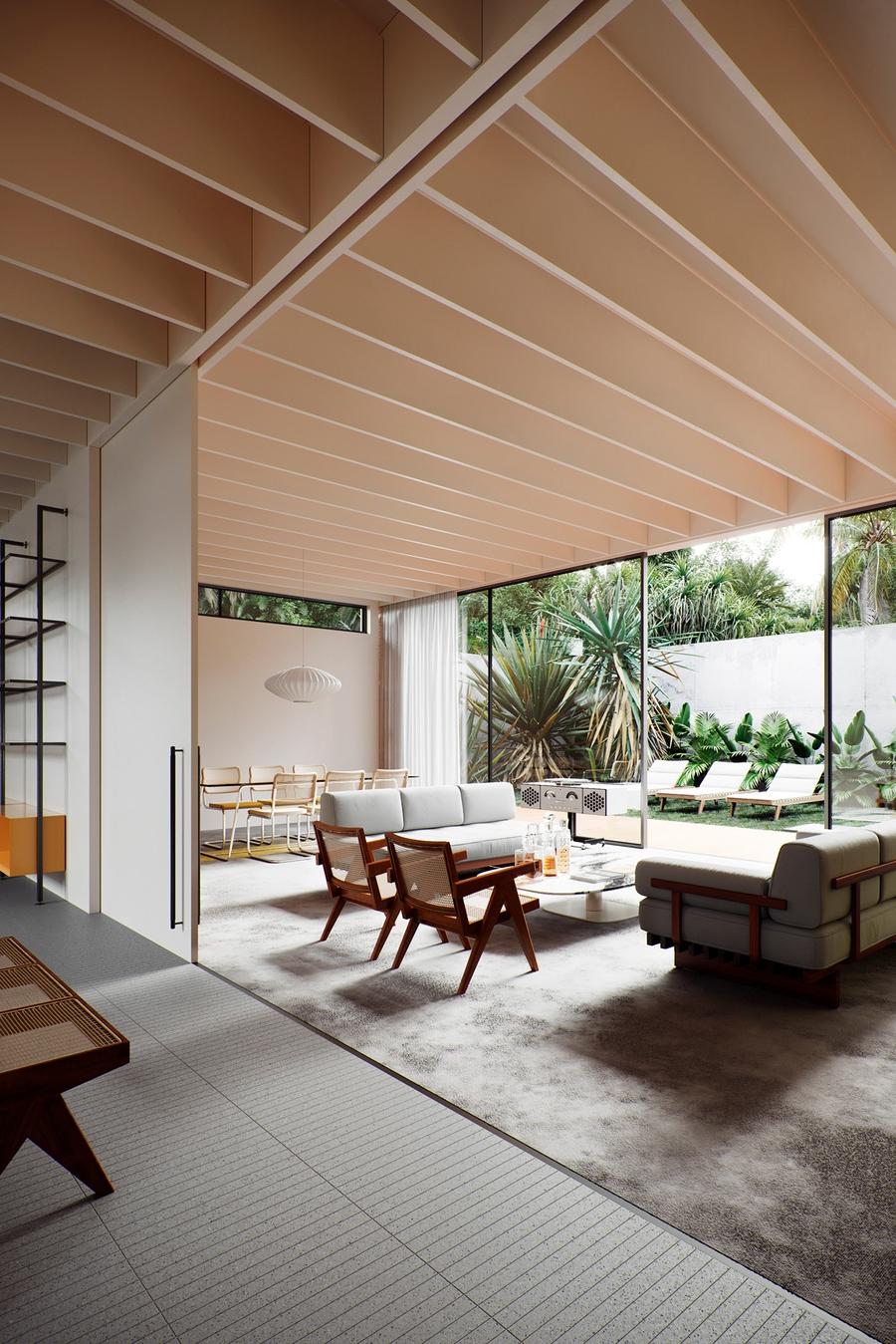 Thiết kế phòng khách có tầm view nhìn ra sân vườn