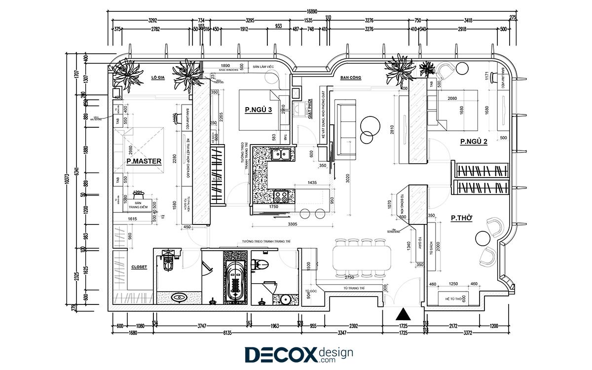 Thiết kế nội thất căn hộ Vinhomes Landmark 188m2 de190021