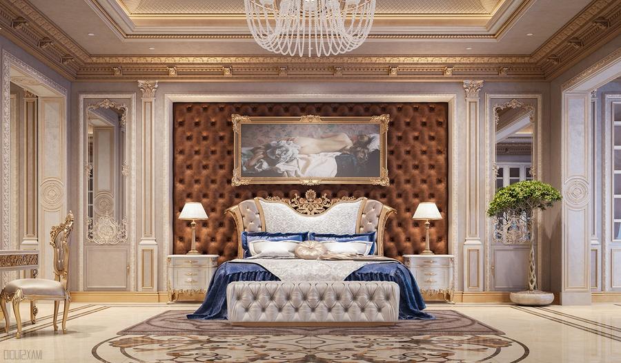 Thiết kế nội thất phòng ngủ nhấn điểm với tranh nghệ thuật đầu giường