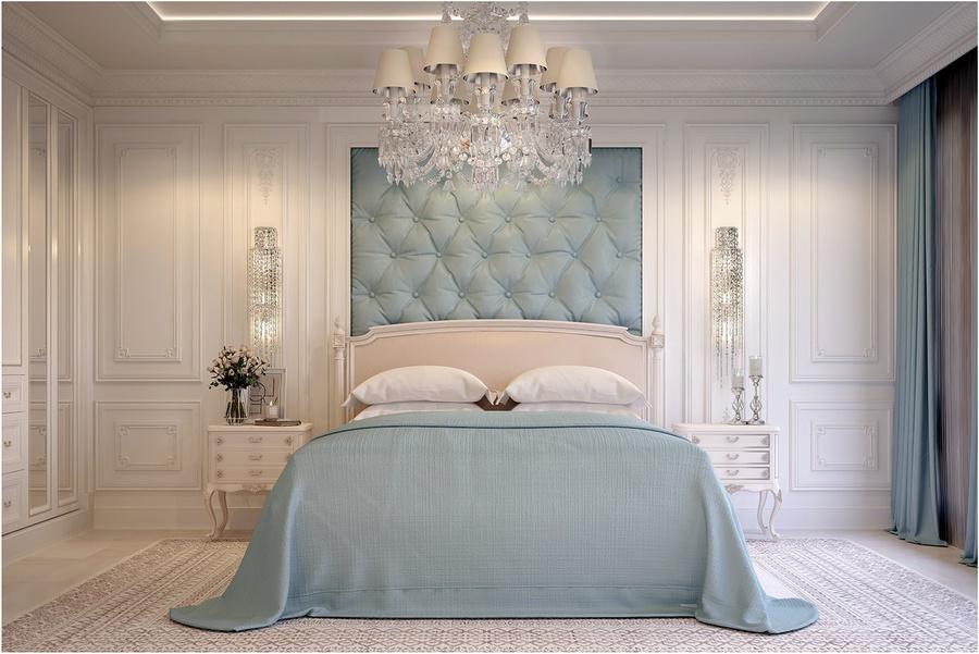 Thiết kế phòng ngủ tân cổ điển nhẹ nhàng với tone trắng - xanh pastel