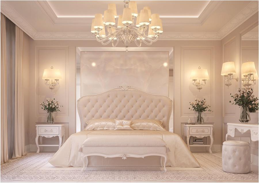 Sử dụng gam màu trắng - be nhẹ nhàng cho toàn bộ không gian phòng ngủ