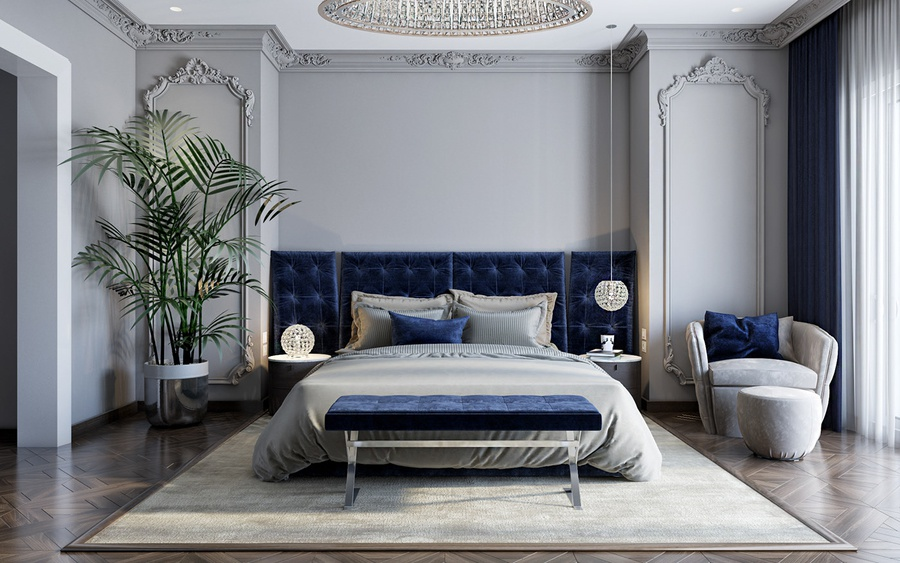 Phòng ngủ tân cổ điển thanh lịch cùng tone xám, nhấn điểm xanh coban