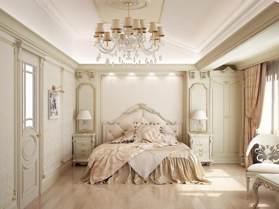 Phòng ngủ tân cổ điển kiểu Pháp sang trọng cùng tone màu trắng kem chủ đạo