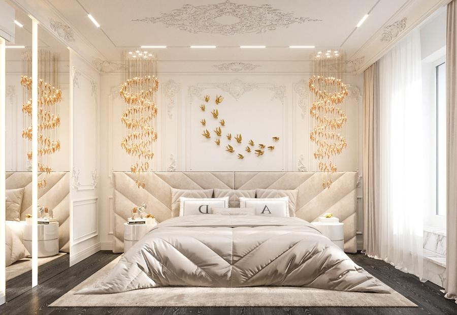 Không gian phòng ngủ tân cổ điển thêm sang trọng với đèn chùm thả trần