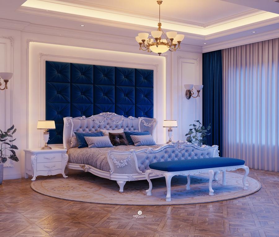 Chất liệu gỗ, bọc nhung thường được sử dụng trong thiết kế phòng ngủ tân cổ điển