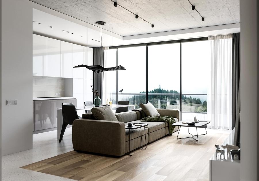 CaptionTạo điểm nhấn và phân chia ngầm khu vực khách - bếp với sàn gỗ