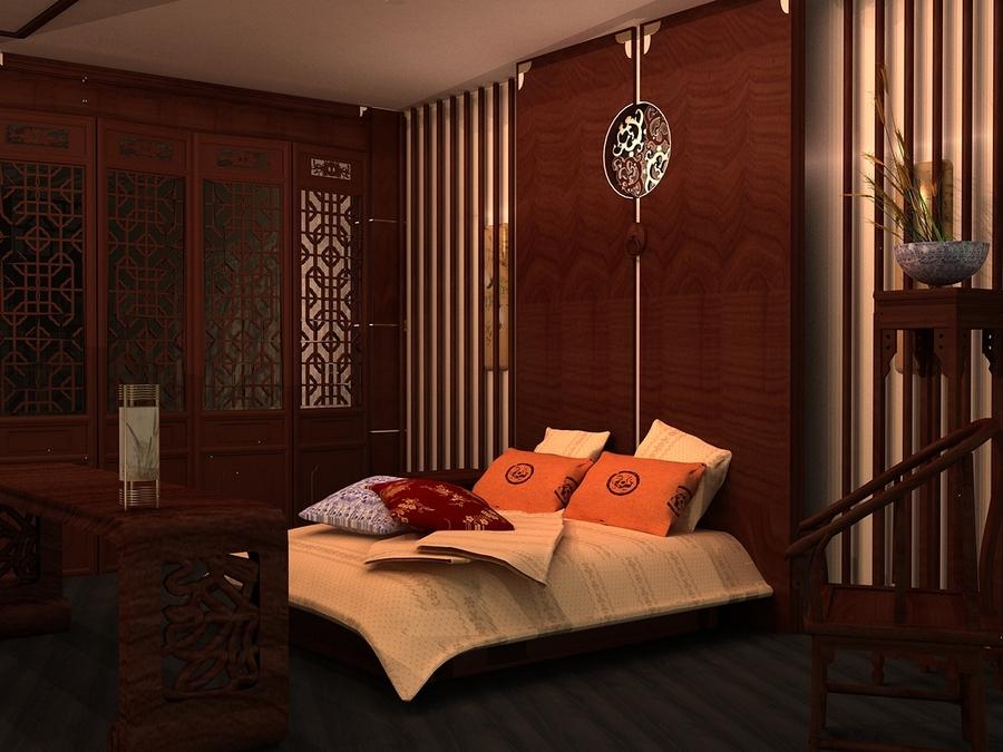 Màu đỏ đóng vai trò chủ đạo trong thiết kế phòng ngủ kiểu Trung Quốc