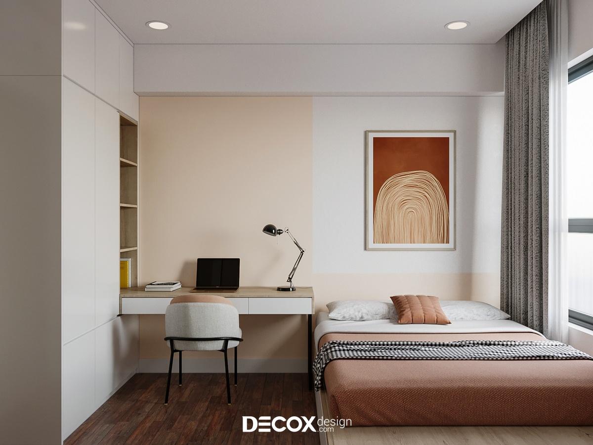 Tăng thêm độ sáng cho phòng ngủ nhỏ với gam màu cam nhạt