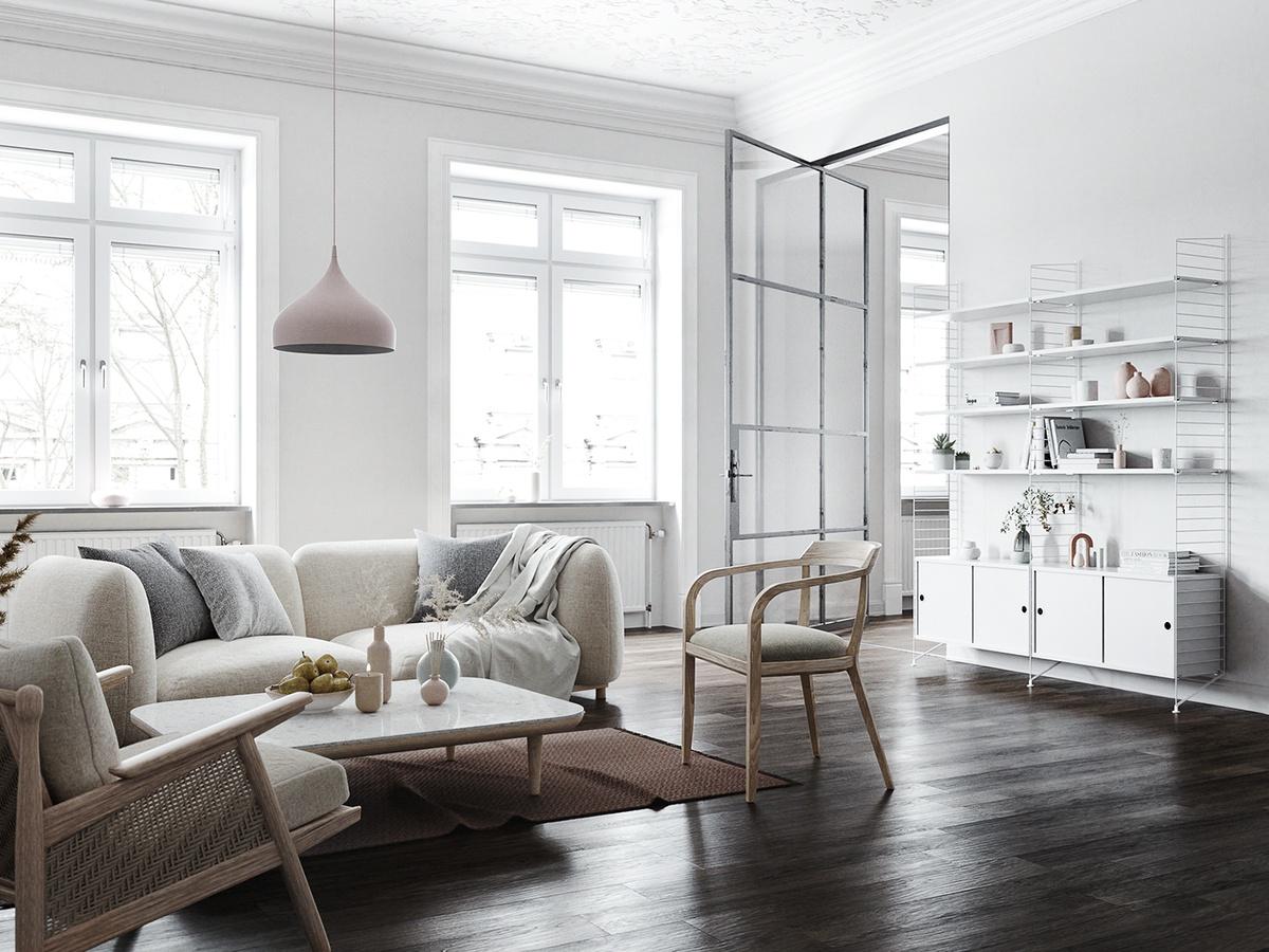 Mẫu phòng khách đẹp với tone trắng chủ đạo lấy cảm hứng từ vùng đất Bắc Âu giá lạnh