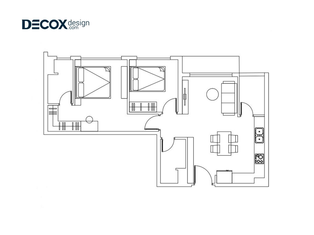 Thiết kế nội thất căn hộ Palm Heights 70m2 de190116