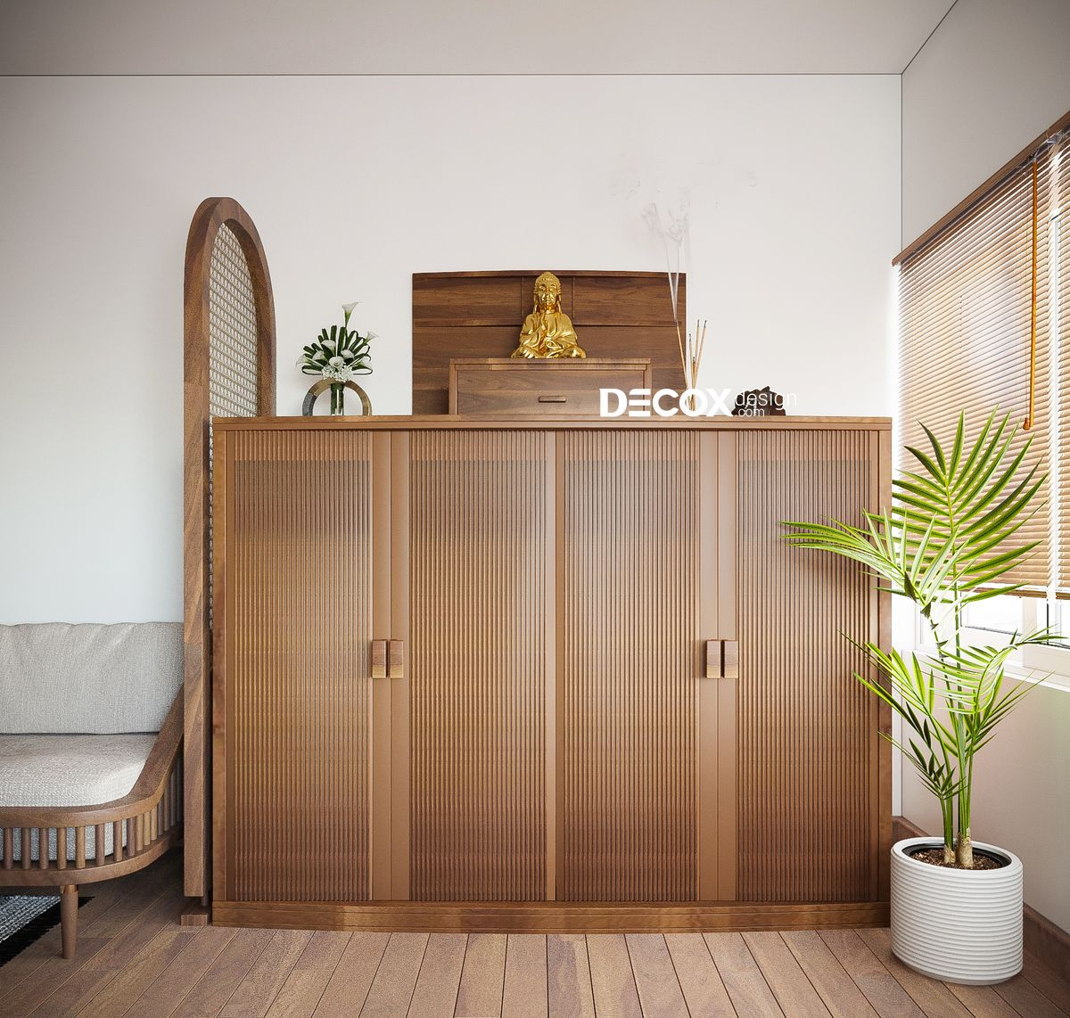 25+ mẫu thiết kế phòng khách kết hợp phòng thờ đẹp cho không gian sống hiện đại